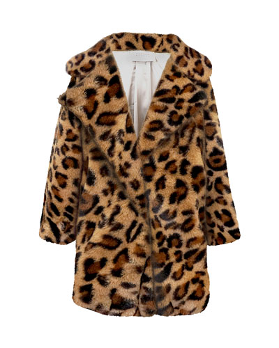 Girl's Faux Fur Leopard Print Coat, Size 7-16