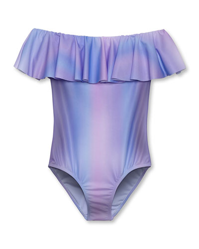 Girls' Pastel Ombre One-Piece Swimsuit, 12M-6