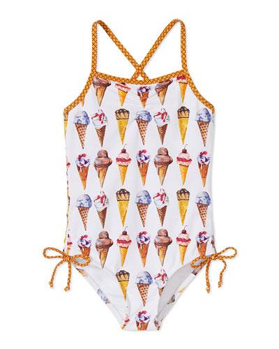 Girls' Ice Cream Cone One-Piece Swimsuit, 12M-6