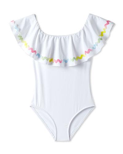 Girls' Rainbow Ricrac One-Piece Swimsuit, 2-10