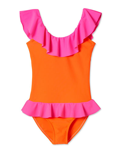 Two-Tone Flared One-Piece Swimsuit, Size 2-12