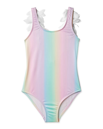 Girls' Rainbow One-Piece Swimsuit with Petals, 2-14