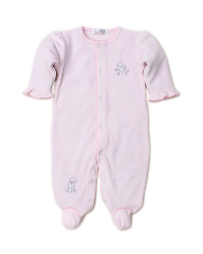 Oodles of Poodles Velour Embroidered Footie Playsuit, Size 0-9 Months