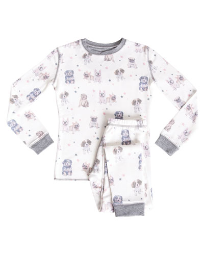 Kid's Bulldog Print Sleep Set, Size 2-8