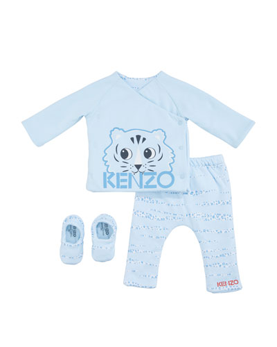 Boy's 3-Piece Reversible Pajama Set, Size 3-18 Months
