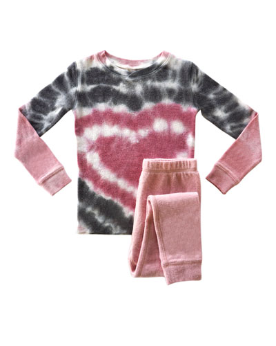 Girl's Heart Tie Dye Sleep Set, Size 2-14