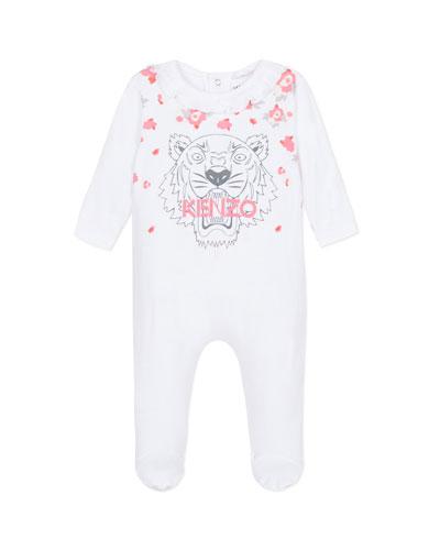 Tiger & Flower Print Ruffle-Trim Footie Pajamas, Size 3-9 Months