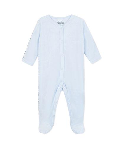 Velour Footie Pajamas w/ Logo Taping, Size 3-9 Months