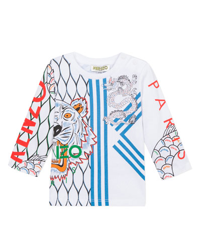 Boy's Multi Iconic Tiger Dragon Print Tee, Size 6-18 Months