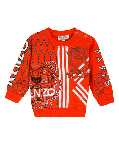Multi-Iconic Tiger & Dragon Graphic Sweatshirt, Size 6-18 Months