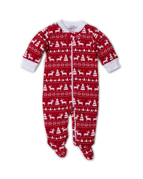 Kissy Kissy Christmas Deer Pima Footie Playsuit, Size 0-9 Months