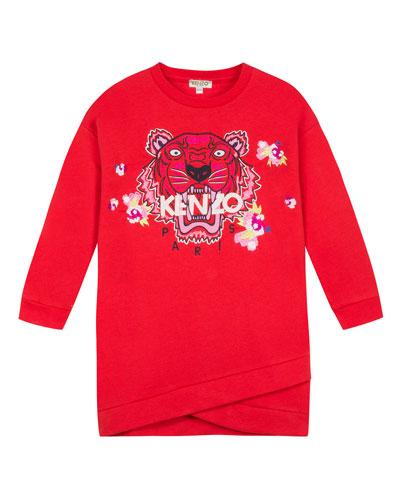 Tiger & Flower Sweatshirt Dress, Size 2-6