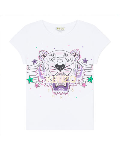 Tiger & Stars Graphic Short-Sleeve Tee, Size 8-12