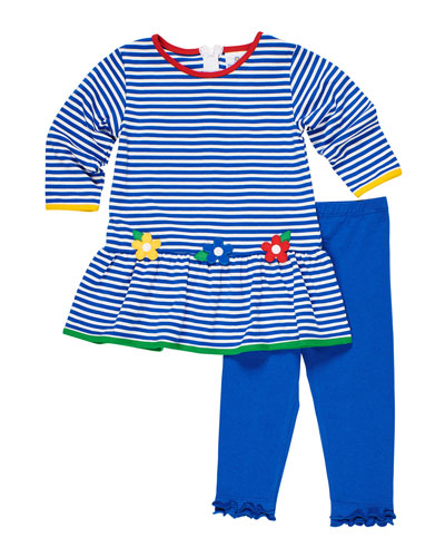 Stripe Knit Flower Applique Dress w/ Ruffle Trim Leggings, Size 2-6X