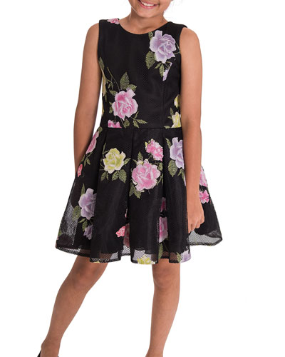 Dahlia Floral Perforated Knit Party Dress, Size 4-6X