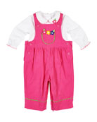Florence Eiseman Corduroy Flower Overalls w/ Long-Sleeve Top,