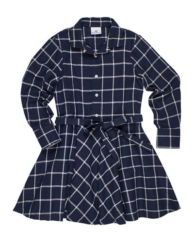 Long-Sleeve Plaid Shirt Dress, Size 7-14