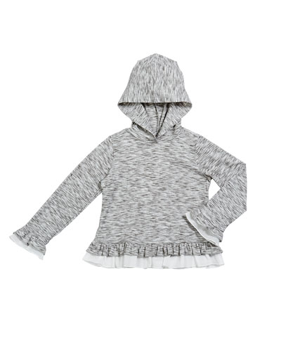 Girl's Hatchi Heathered Ruffle Trim Hoodie, Size 2-6X