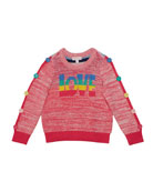 Design History Girls Girl's Love Multi-Stripe Knit Sweater,