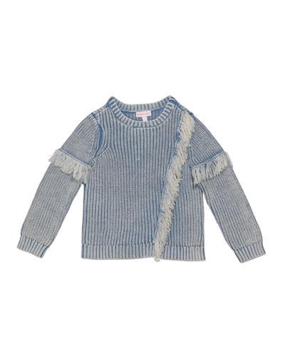Girl's Denim Colored Fringe Sweater, Size 2-6X