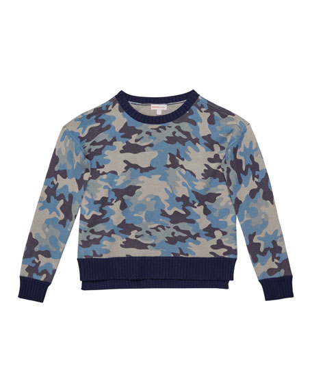 Design History Girls Girl's Camo Sweater, Size S-XL