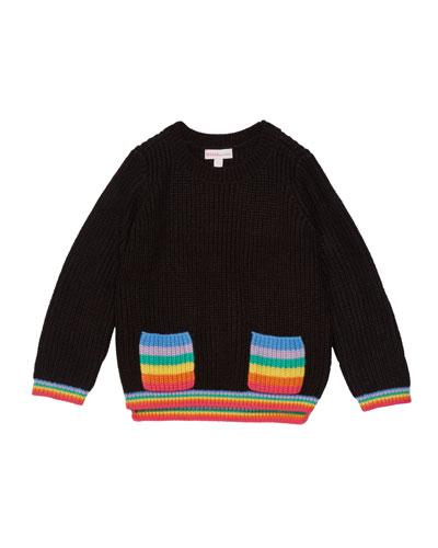 Girl's Rainbow Pocket Sweater, Size 2-6X