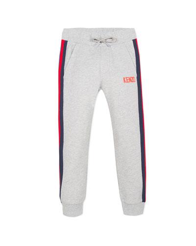 Drawstring Sweatpants w/ Striped Taping, Size 8-12