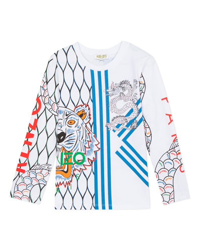 Multi-Iconic Tiger & Dragon Graphic Tee, Size 2-6