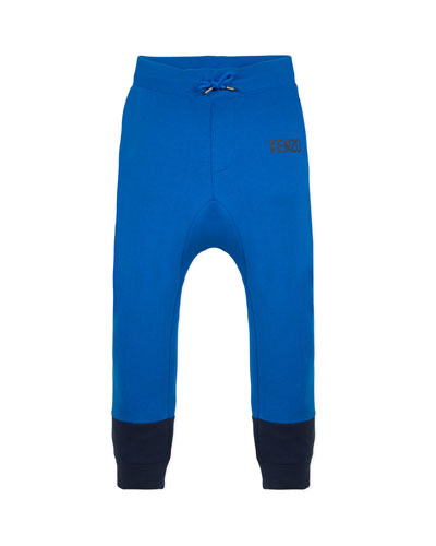 Boy's Two-Tone Sweatpants w/ Logo Taping, Size 2-6