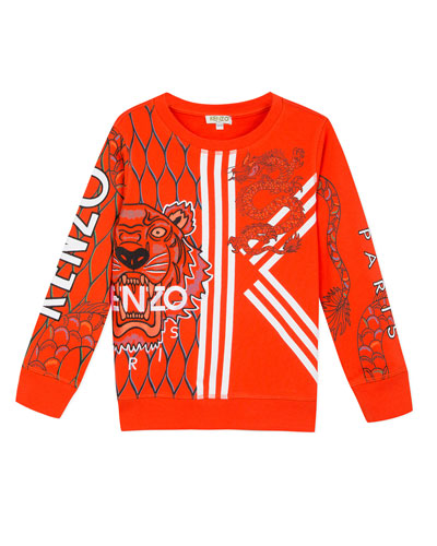 Multi-Iconic Tiger & Dragon Graphic Sweatshirt, Size 8-12