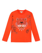 Kenzo Long-Sleeve Tiger & Dragon Print Tee, Size