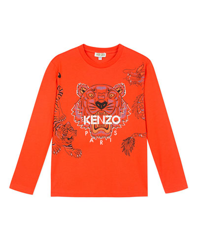 Long-Sleeve Tiger & Dragon Print Tee, Size 2-6
