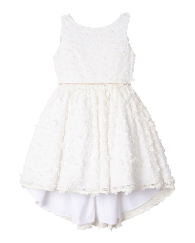 Flower Lace High-Low Dress, Size 7-16
