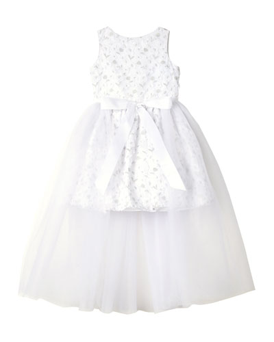 Short Lace Dress w/ Open Tulle Front Overlay, Size 7-16
