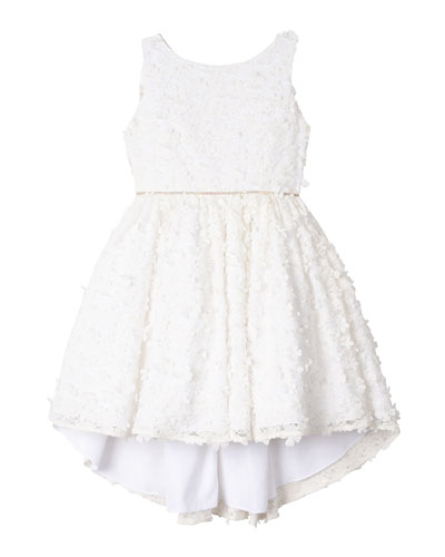 Flower Lace High-Low Dress, Size 4-6X