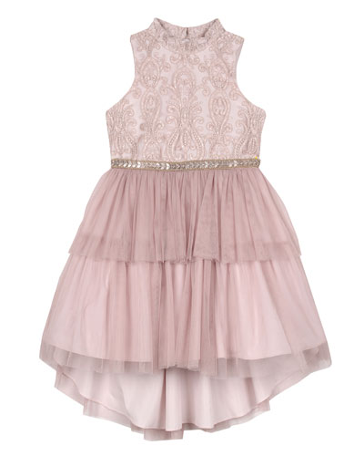Embroidered Two-Tier Tutu Dress, Size 7-16