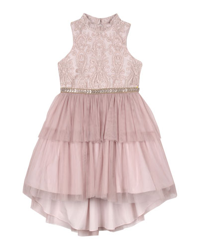 Embroidered Two-Tier Tutu Dress, Size 4-6X