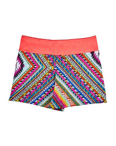 Zigzag Print Athletic Fit Shorts, Size 6-12