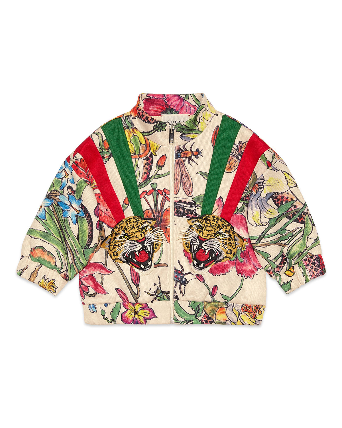 Gucci Kids' Floral Zip-up Sweatshirt W/ Stripes & Tiger Patches In White