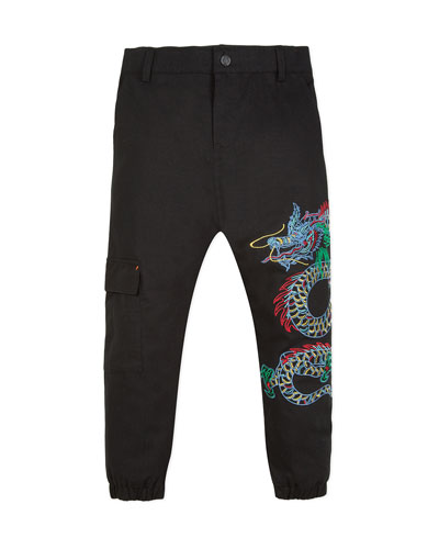Japanese Dragon Embroidered Cargo Pants, Size 8-12