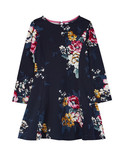Girl's Erin Floral Print Long-Sleeve Dress, Size 3-12