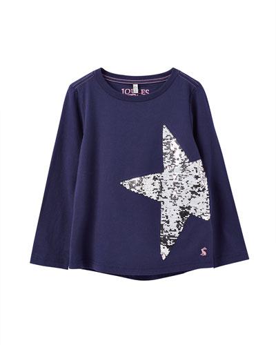 Ava Flip-Sequin Star Tee, Size 3-12