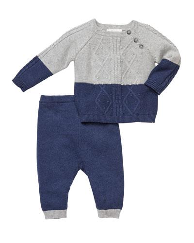 Cable-Knit Sweater & Pants Set, Size 3-9 Months