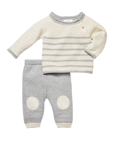 Striped Sweater w/ Knee-Patched Pants, Size 3-9 Months