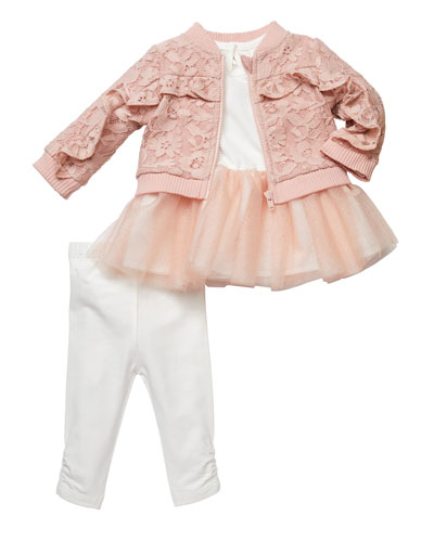 Tutu Top and Lace Bomber Jacket w/ Leggings, Size 3-9 Months