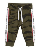Givenchy Boy's Camo Sweatpants w/ Logo Taping, Size