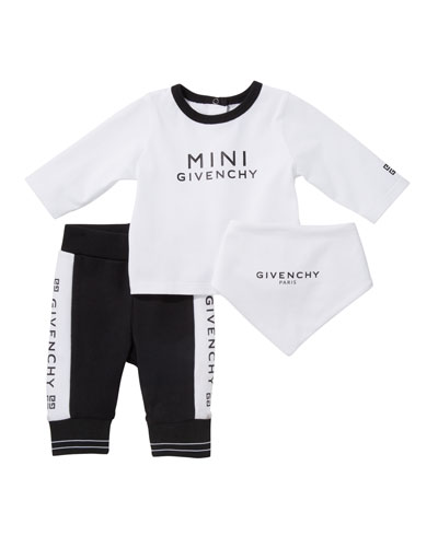 Logo Long-Sleeve Tee Pant & Bib 3-Piece Layette Set, Size 3-18 Months