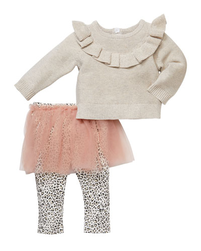 Ruffled Front Shimmer Sweater with Leopard-Print Tutu Leggings, Size 3-24 ...