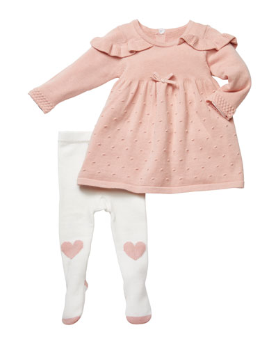 Ruffle-Shoulder Sweater Dress w/ Heart Tights, Size 3-9 Months