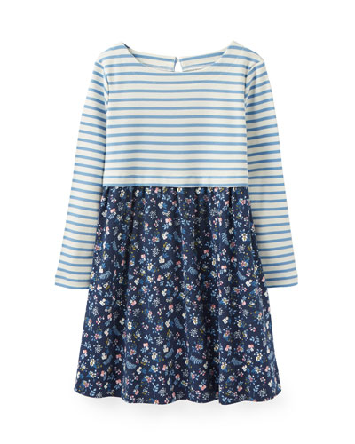 Layla Striped & Floral Long-Sleeve Dress, Size 2-6